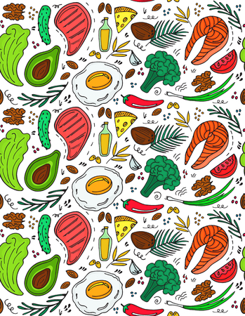 Ketogenic diet seamless pattern in hand drawn doodle style. Low carb dieting. Paleo nutrition. Keto meal protein and fat. Healthy foods