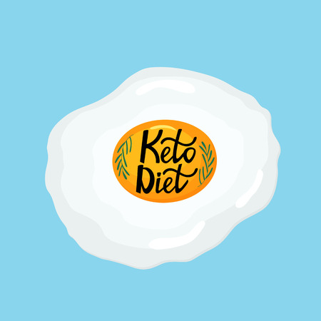 I love the Keto Diet - hand drawn lettering. Fried egg with a sprig of rosemary healthy breakfast Banco de Imagens - 126204610