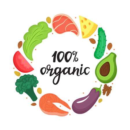 100% organic - hand drawn lettering. Round frame of natural vegetables, nuts and other healthy foods. Keto nutrition. Ketogenic diet Illustration