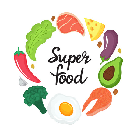 Super food - hand drawn lettering. Round frame of natural vegetables, nuts and other healthy foods. Keto nutrition. Ketogenic diet Illustration