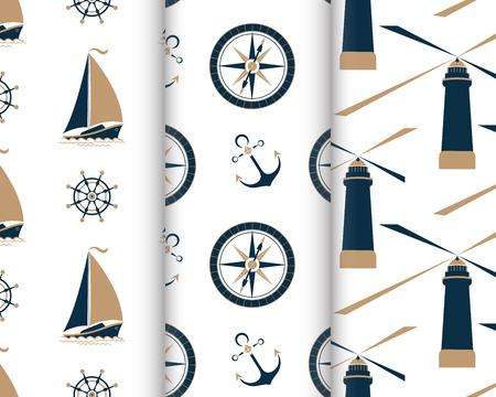 Set of marine seamless patterns with ship, anchor, nautical compass, lighthouse, captain's wheel Ilustracje wektorowe