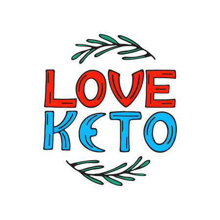 I love keto hand drawn doodle text with rosemary sprigs. Healthy eating concept. Stock Vector - 125963942