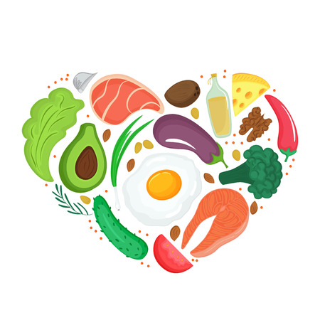 Healthy foods: vegetables, nuts, meat, fish. Heart shaped banner Keto diet. Ketogenic nutrition
