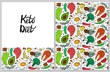 Ketogenic diet vertical banner in hand drawn doodle style. Low carb dieting. Keto seamless pattern