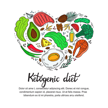 Healthy foods: vegetables, nuts, meat, fish. Heart shaped banner in doodle style. Keto diet. Ketogenic nutrition