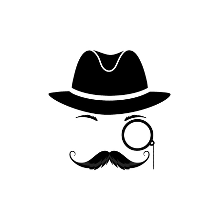 A mustache detective in a hat and with a monocle. Gentleman in a bowler hat. Detective vector icon