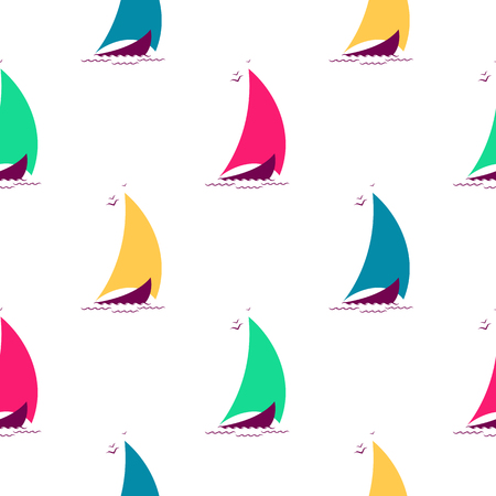 Ships on the waves in the sea seamless pattern. Nautical background with multicolored sailing boats. Illustration