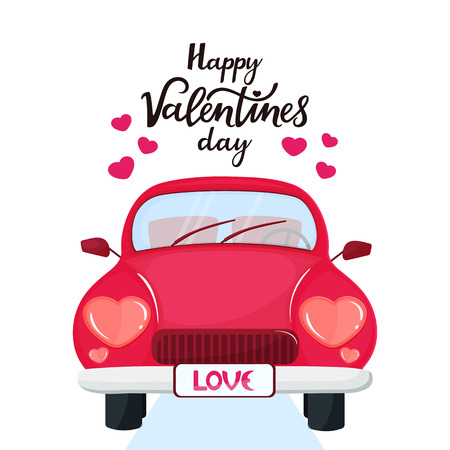 Red car with headlights in the shape of a heart. Happy Valentine's Day hand drawn lettering