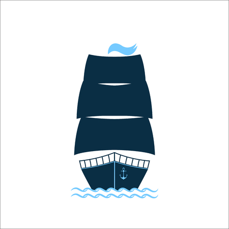 Ship with raised sails. Vector icon for a pleasure boat, water freight, marine club or restaurant