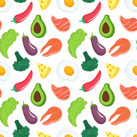 Keto diet seamless pattern. Ketogenic food with organic vegetables, meat and fish. Low carb nutrition. Paleo protein and fat