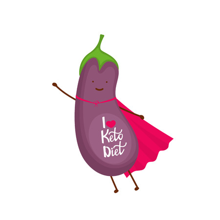 Eggplant dressed as a superhero cartoon character. I love keto diet - hand drawn lettering. Stock Vector - 117980790