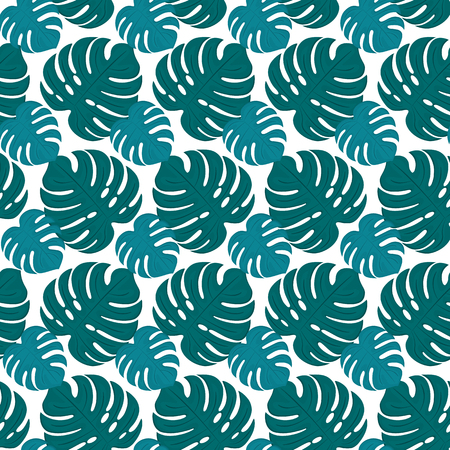 Large leaves of Monstera seamless tropical pattern. Botanical background.