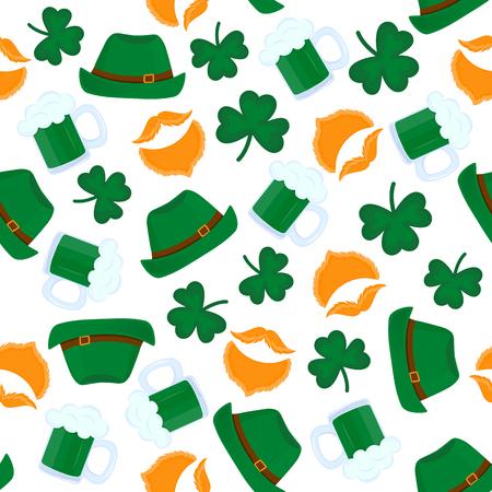 Happy St. Patricks Day seamless pattern. Mug of beer, leprechauns red beard, a shamrock, a green hat.