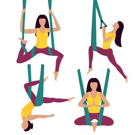 Fly Yoga. Woman performs asana in hammock.