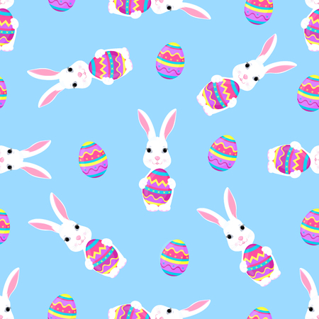 Cute Easter bunny holds paschal egg in its paws seamless pattern