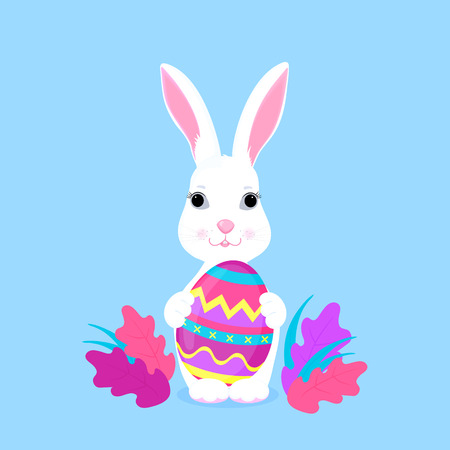 Cute Easter bunny holds paschal egg in its paws Illustration
