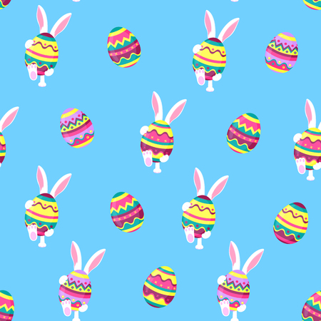 Easter bunny holding a big paschal egg. Funny rabbit walks seamless pattern.