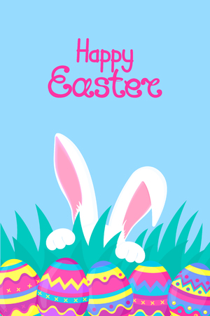 Happy easter. Paschal eggs. White rabbit with paws and pink ears hiding in the grass