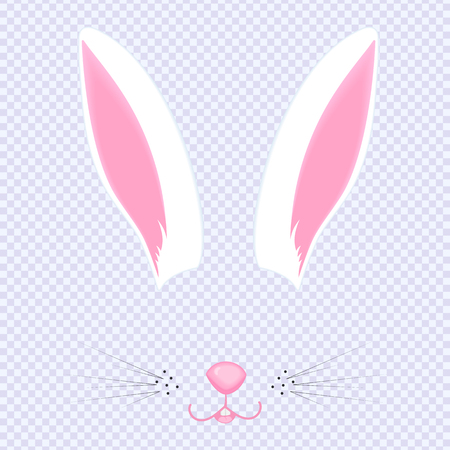 Easter Bunny ears and nose. Mask for carnival, selfie, photo, chat. Illustration