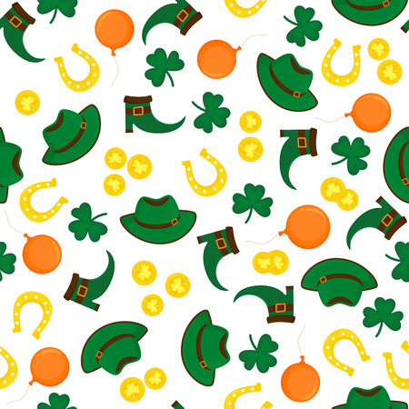 Decorative background to the St. Patrick's Day. Hat, gold coins, horseshoe, clover, shoes Standard-Bild - 124850899