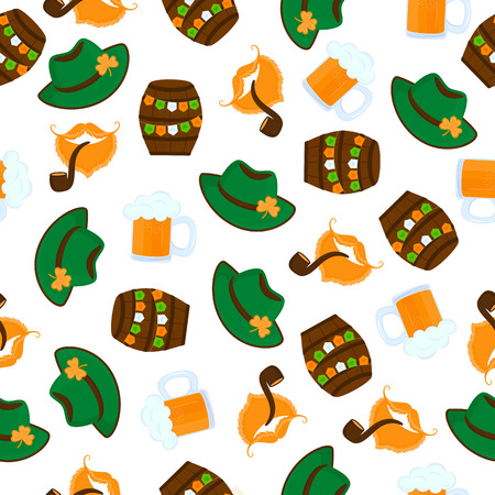 Decorative background to the St. Patrick's Day. Hat, Beer Keg, Smoking Pipe Standard-Bild - 124850900