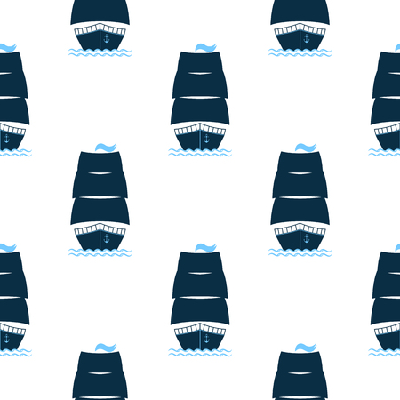 Ship with raised sails seamless pattern.