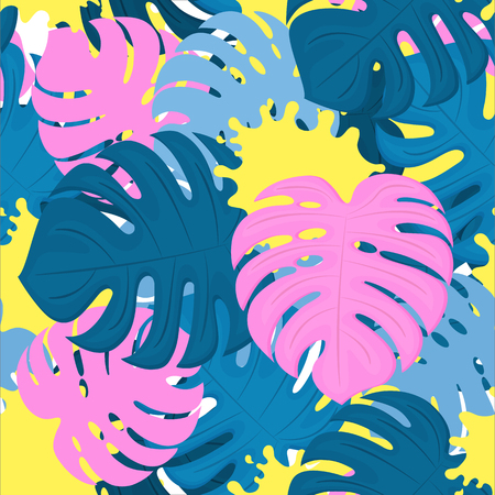 Monstera leaves and paint stains. Tropical design. Trendy Seamless Pattern. Standard-Bild - 124850903