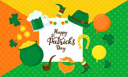 Happy St. Patrick's Day. Greeting card. Festive decor Standard-Bild - 124850904