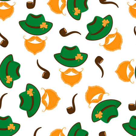 Leprechaun with a red beard and mustache in a green hat with a shamrock and with a smoking pipe seamless pattern. Happy St. Patrick's Day Standard-Bild - 124850906
