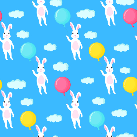 Funny white bunny with a balloon. Rabbit and clouds seamless pattern Standard-Bild - 124850909