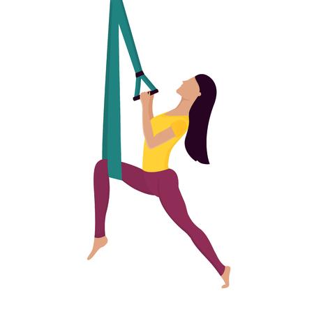 Girl doing fly yoga with aerial hammock Standard-Bild - 124850910