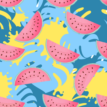 Juicy slices of ripe watermelon. Monstera leaves and paint stains tropical design. Trendy summer background, wallpaper, seamless pattern Illustration