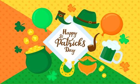 Happy St. Patricks Day. Horizontal banner. Festive decor