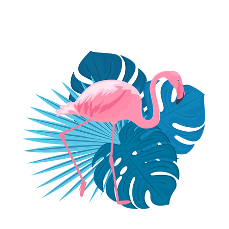 Elegant pink flamingo. Leafing monster and palm trees. Trendy summer tropical print