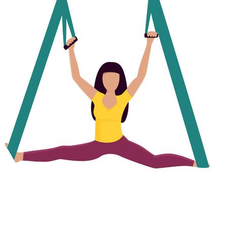 Yoga girl doing splits with hammock vector illustration