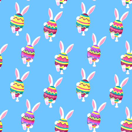The white rabbit is walking. Bunny holds in his paws an Easter egg. Festive background for Pascha