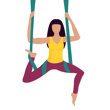 Girl doing fly yoga with aerial hammock. Healthy lifestyle. Workout.