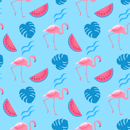 Trendy seamless pattern with tropical pink flamingos, watermelon slices and monstera leaves. Exotic jungle background.