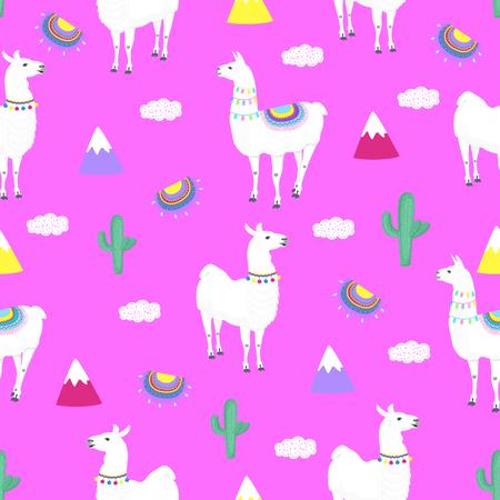 Llama. Cactus. Mountains. Funny alpaca cartoon character. Seamless pattern for nursery, textile, kids apparel Standard-Bild - 124351751
