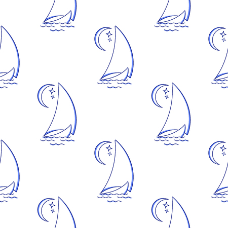 Sailing ship in the waves against the moon seamless pattern. Vector icon in line art style. Travel, transportation.