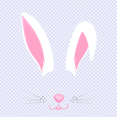 Easter Bunny ears and nose. Mask for carnival, selfie, photo, chat. The face of the animal. Rabbit filter. Vector.  イラスト・ベクター素材
