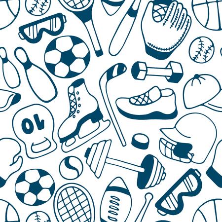 Equipment for winter and summer sports seamless pattern. Baseball. American football. Hockey Standard-Bild - 124351756