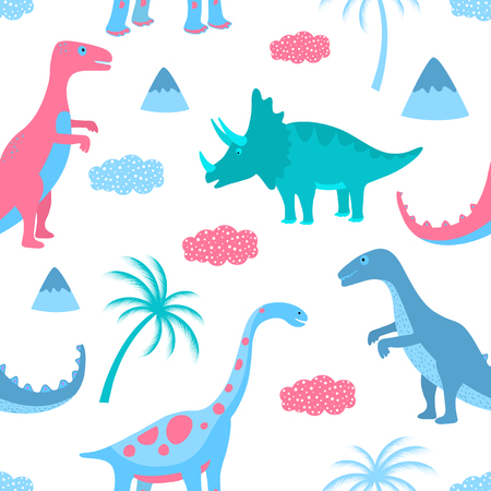 Funny dinosaurs, clouds and palm trees. Hand drawn seamless pattern for nursery, textile, kids apparel