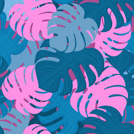 Monstera leaves. Tropical design. Trendy Summer Seamless Pattern