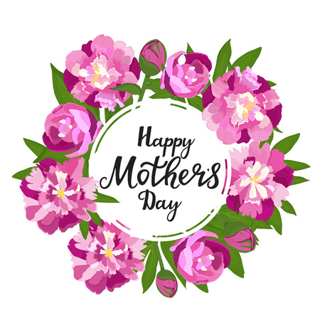 Happy mother s day. Greeting frame with peonies. Standard-Bild - 124290238