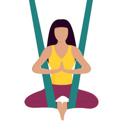 Girl doing aerial yoga. Healthy lifestyle. Wellness
