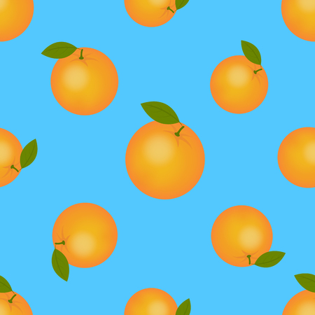 Juicy ripe orange with green leaves. Citrus fruit seamless pattern for printing on fabric.
