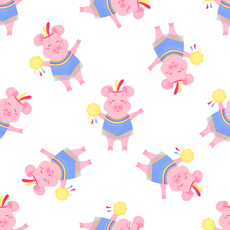 Cute pig in a costume and with a tambourine. Funny piggy. Seamless pattern for nursery, fabric, textile, kids apparel.
