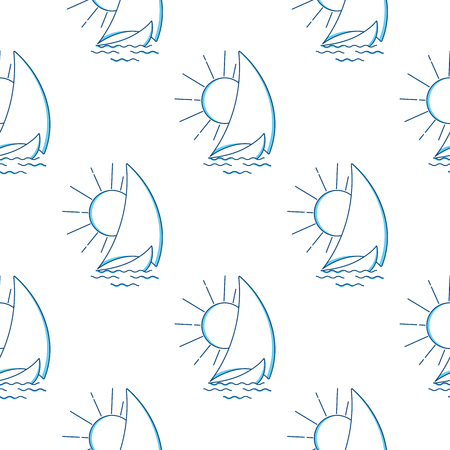 Sailing ship in the waves against the rising sun seamless pattern. Vector icon in line art style. Travel, transportation. Illustration