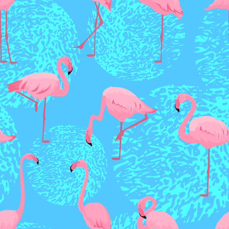 Pink flamingos in different poses. Seamless summer tropical pattern Standard-Bild - 124215925